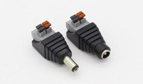 12V DC tápkábel (Jack) csatlakozó adapter aljzat gyorscsatlakozóval 5,5mm x 2,1mm  - ANYA/APA