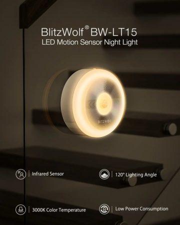 BlitzWolf BW-LT15 éjszakai lámpa, mozgásérzékelős, 0,8W fogyasztás, fehér színű