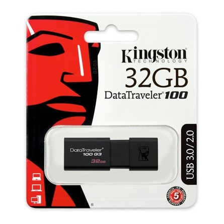 Kingston 32GB Data Traveler 100 Generation 3 USB 3.0 pendrive fekete