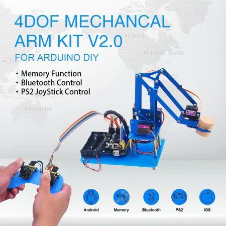 Keyestudio - 4DOF Robotkar KIT váz - 4 tengelyes - összeszerelhető - Joystick-kal - Bluetooth