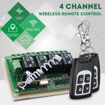 Vezeték nélküli relé modul 12V 4CH csatornás 433Mhz 2db távvezérlővel - Távirányító készlet