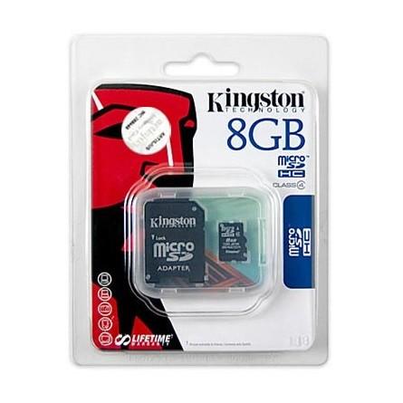 Kingston MicroSDHC 8GB C4 memóriakártya adapterrel