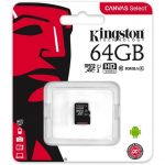 Kingston 64GB Canvas Select 80R Class 10 UHS-1 microSDXC memóriakártya