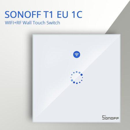 Sonoff T1 EU 1C WiFi-s + rádióvezérlésű, távvezérelhető, érintős villanykapcsoló