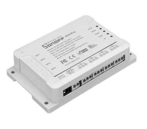 Sonoff 4CH PRO R2 WiFi-s és RF-es, négy áramkörhöz, intereneten keresztül vezérelhető kapcsoló relé