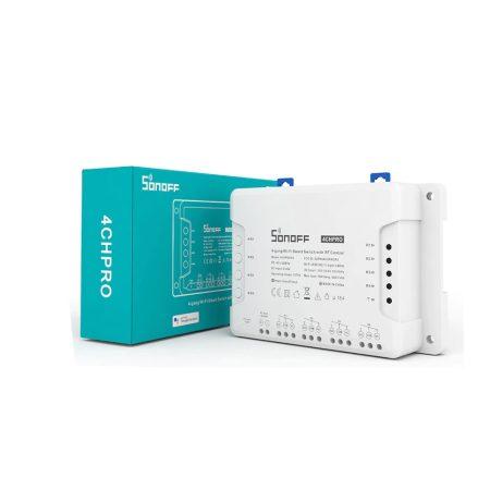 Sonoff 4CH PRO R3 WiFi-s és RF-es, négy áramkörhöz, intereneten keresztül vezérelhető kapcsoló relé