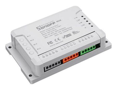 Sonoff 4CH R2 WiFi, négy áramkörhöz, intereneten keresztül vezérelhető kapcsoló relé